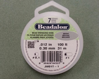 Beadalon Bead Stringing Wire. 7 Strand, .012 Thick 100 foot roll