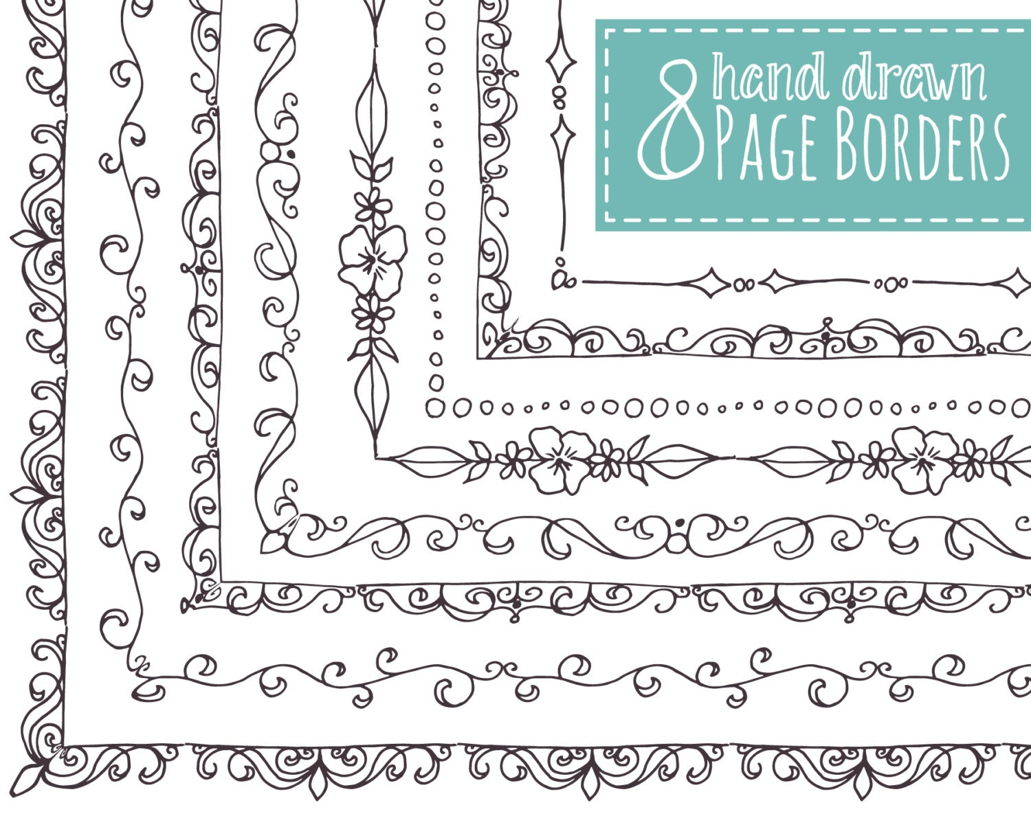 Clip art 8 page borders hand drawn frames doodle for Page decoration ideas