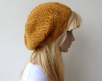 Mustard Knit Hat Yellow Slouchy beanie Womens Chunky Knit slouch hat Mens knit hat
