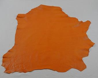 Orange caramel lamb leather skin