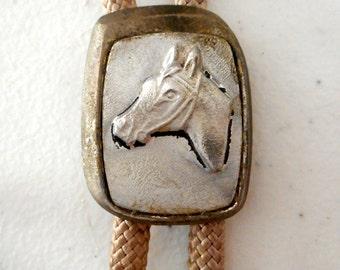 Horse Head Bolo Tie Distressed Vintage Western Country Necktie Necklace Rockabilly