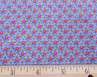 vintage inspired calico print nos fabric remnant in lavender, coral, and yellow