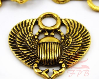 5 Egyptian Scarab Beetle Charms 27mm Wholesale Antiqued Gold Plated Egypt Pendants SC0086601
