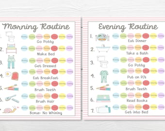 PRINTABLES- WEEKLY (7 Day)- Young Child/Toddler Girls Chore Chart