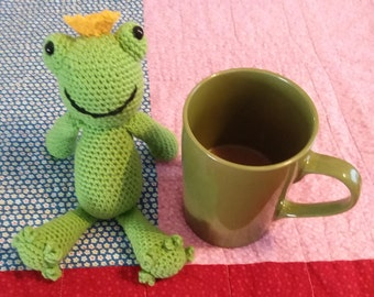 Hand crocheted Zachary the frog