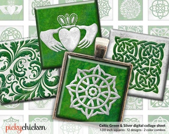 Celtic Green & Silver Digital Collage Sheet - 1 inch squares Instant Download - for pendants magnets 2130