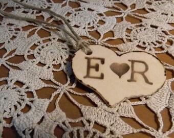 Custom Wedding  Wood Heart Tags