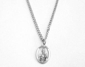 """St. JUDE Medal Pendant Necklace Patron Saint Impossible Causes 24"""" Chain  ITALY Saint Jude Silver Plate Necklace in BOX"""