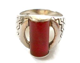 Vintage Carnelian Sterling Silver Ring Size 6 1/2