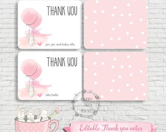 Bunny Thank you card, Bunny Note cards, Note cards, Bunny Birthday, Bunny Party, DIY, Instant download, Editable.