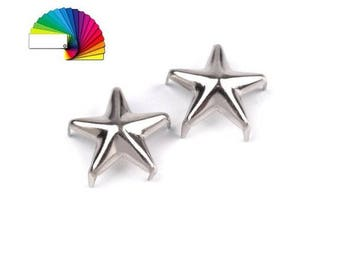 50 Clothing Star Studs Ø10mm