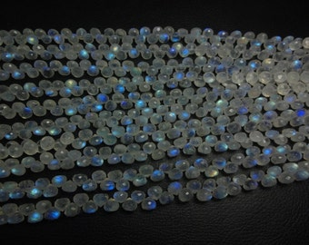 4-inch strand Gorgeous AAA quality Rainbow Moonstone faceted onion shape briolette full flashy fire size 7mm 100% natural