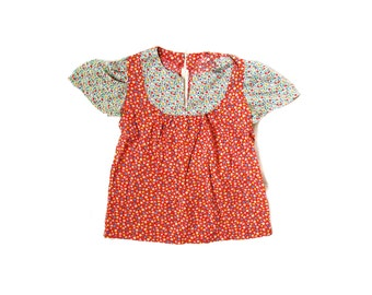 vintage girls blouse 70's calico print mixed ladybug yoke handmade children's clothing 1970's size 8