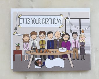 The Office Birthday Card - The Office TV Show Card, Dunder Mifflin Card, It is Your Birthday Card, Michael Dwight Jim Pam Card, Birthday