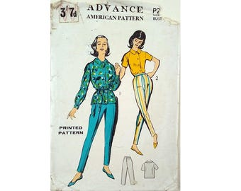 "Rare Part UNCUT Advance #255 Vintage 60's Shirt and Trouser Pants American Sewing Pattern Size Bust 34"" UK 12"