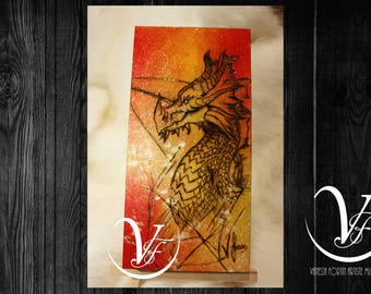Fiery, pyrography, dragon, engraving, wood, small painting, fire, Monster