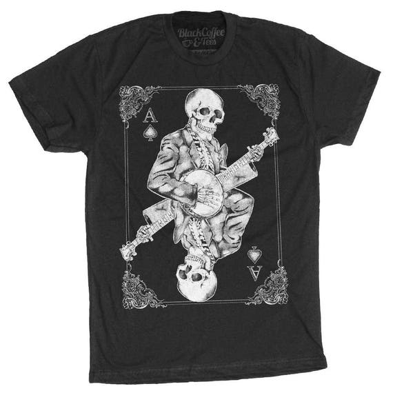 Halloween Shirt! Men's Banjo Shirt - Skull Playing Banjo Men's T-Shirt - Skull Shirt - Hand Screen Printed Mens Shirt