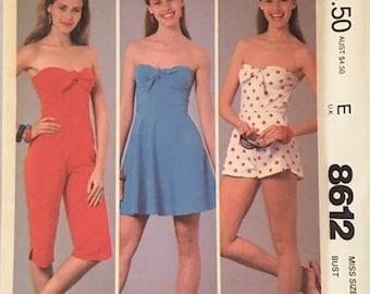 McCalls Vintage Pattern 8612 Dress, Jumpsuit, and Romper UNCUT Size: 14