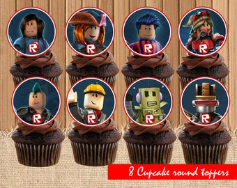 Digital Roblox Cupcake Toppers