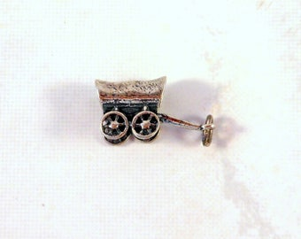 Sterling Silver Charm Covered Wagon Conestoga Wagon Oregon Trail Old West