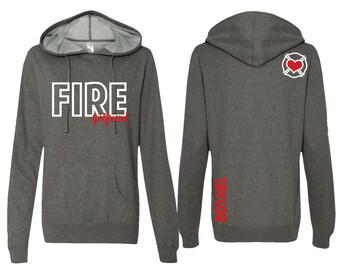 Firefighter Girlfriend Hoodie, PERSONALIZED Fire Girlfriend Hoodie, Fire Girlfriend Hooded Sweatshirt, Firefighter Girlfriend Gift