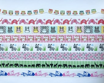 "Cute Animals Washi Tape 24"" Sample Set - Owls on a String, Elephants washi, Bunnies washi, Owl washi, Zebra washi"