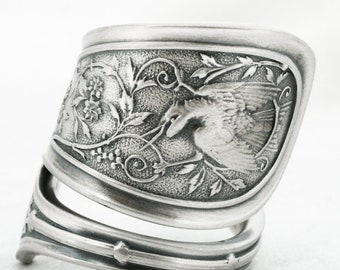Rare Bird Ring, Sterling Silver Spoon Ring, Antique Wendt Bird ca 1865, Handcrafted Flatware Animal Jewelry, 925 Adjustable Ring Size (7066)