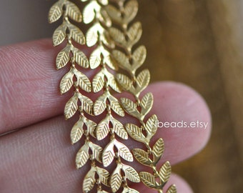 Unplated Raw Brass Designer Chain 6.5mm, Two Sided Leaf Chevron Chains (#LK-035)/ 1 Meter=3.3ft