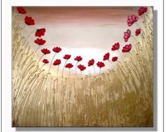 Destiny' Original textured red poppy painting on canvas. 100cm x 80cm x 3.5cm. Landscape floral gift Christmas