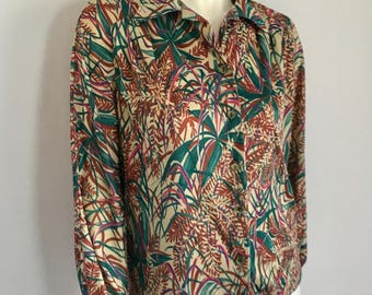 Vintage Women's 70's Blouse, Floral, Polyester, Long Sleeve (XL)