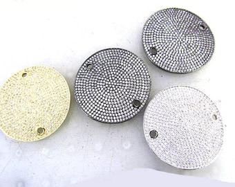 2Pcs 22\32mm Assorted Micro Pave CZ Diamond,Round disc carved bracelet connector(2 holes), jewelry Accessories charms findings