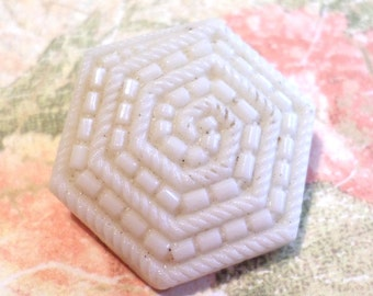 Vintage Cream Hexagon Glass Button 1 Inch Glass Shank Button for Sewing Crafts Scrapbooking Cardmaking Jewelry