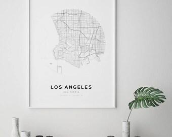 Los Angeles City Map, US City Map, City Map Art, California Map Print, Los Angeles Map Print, Los Angeles, California, LA Map Poster, LA