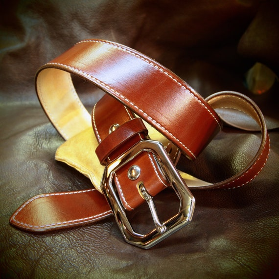 """Tan leather belt  1-3/4"""" rust brown wide- saddle machine stitched handmade for YOU in USA by Freddie Matara"""