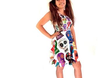 Day of the Dead Skater Dress - printed flared tank dress - sugar skulls  dress -
