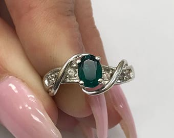 925 Silver Ring with Green Stone & CZ accents L286