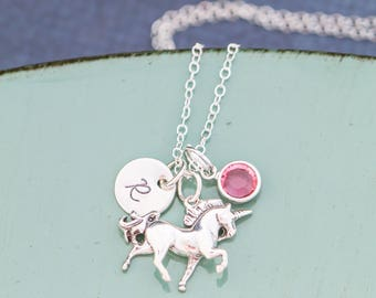 Unicorn Necklace • Girls Birthday Present Unicorn Party Favor • Sterling Silver Unicorn Charm Pendant Unicorn Jewelry Mythical Mystical