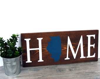Home State Sign - Custom Home Decor Sign - Wood Wall Sign - Home Accent Sign - Wood State Sign - Living Room Wall Decor - Housewarming Gift
