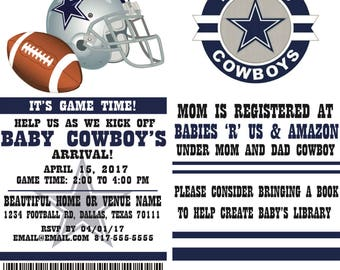 Football Ticket Party Invitation- Dallas Cowboys Inspired, Baby Shower, Birthday, Wedding