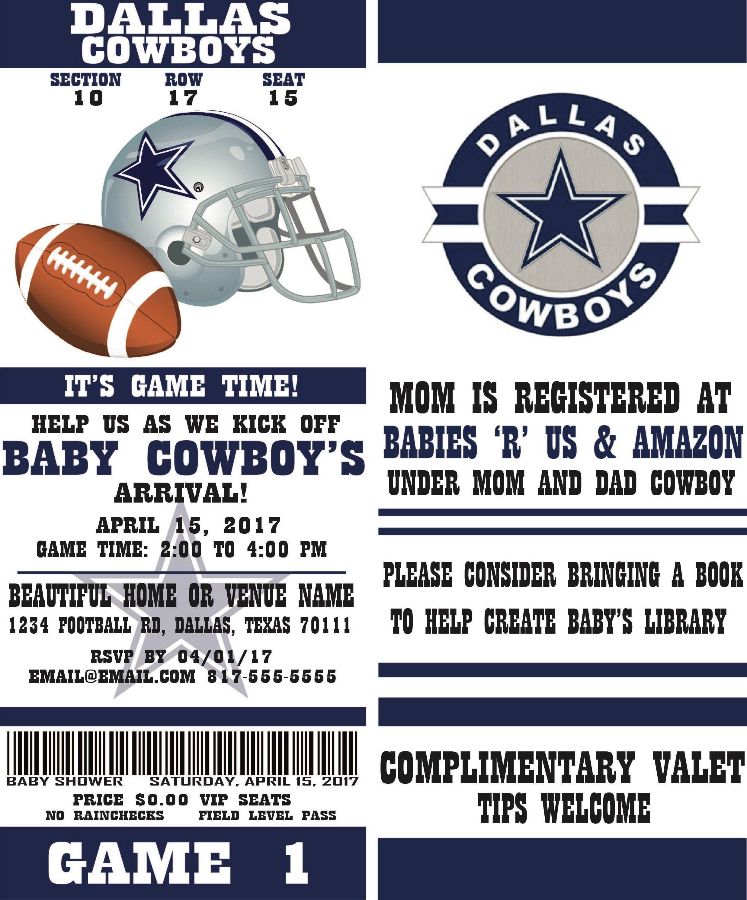 Football Ticket Party Invitation Dallas Cowboys Inspired