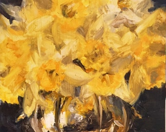 Daffodils in a Silver Pot Still Life Small Oil Painting