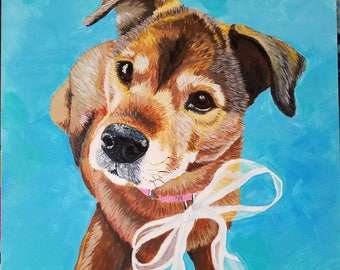 Custom dog portrait - 12 x 12 inches