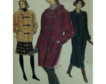 Straight Lined Coat Pattern, Back Yoke, Collar, Patch Pockets, Toggles/Buttons, Hood, Convoy Coat, Vogue No. 7901 UNCUT Size 12 14 16