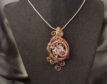 Wire wrap steampunk clock gear pendent