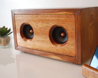 Reclaimed Wood Powered Speaker Unit For 3.5mm iPhone, Android, MP3, Chromecast