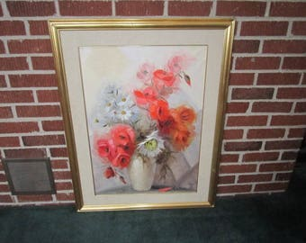 Vintage Mid Century Large Framed Floral Still Life Oil Painting on Canvas