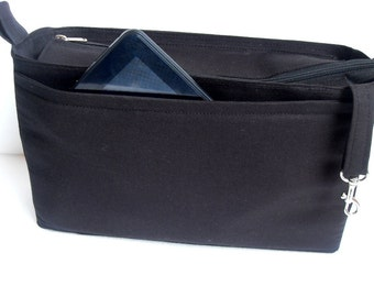 Extra tall Large Bag insert /Purse insert with Zipper closure  and iPad case in Black fabric