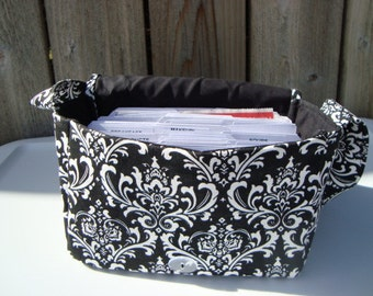 Large 4 inch Size Coupon Organizer Holder - Attaches to Your Cart- Black and White Madison Damask Decor Fabric