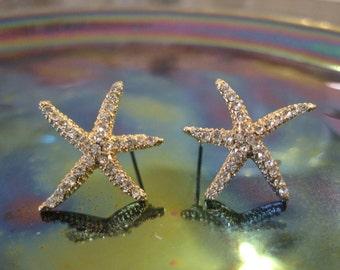 Gold Starfish Earrings - Stud Earrings - Rhinestone Starfish Earrings - Beach Earrings - Beach Wedding - Nautical Jewelry