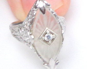 Sz 5.25, Antique Camphor Glass, Diamond Ring, Sterling Silver, Edwardian Fantasy,Circa 1920's, Art Deco Ring, Victorian Style,Antique Ring